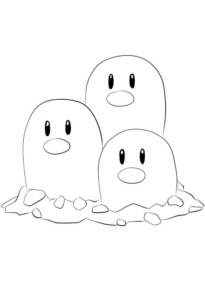 pokemon coloring page dugtrio