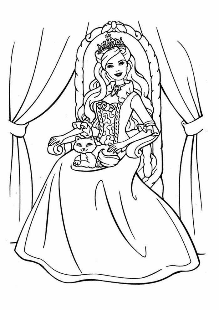 princess cat coloring page