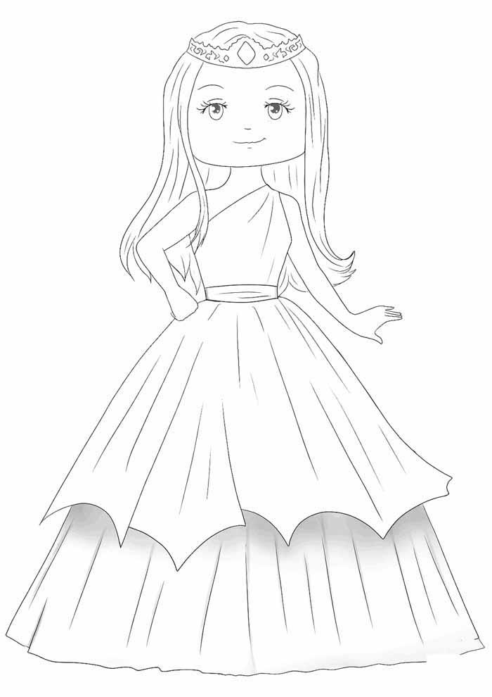 princess coloring page cute royal