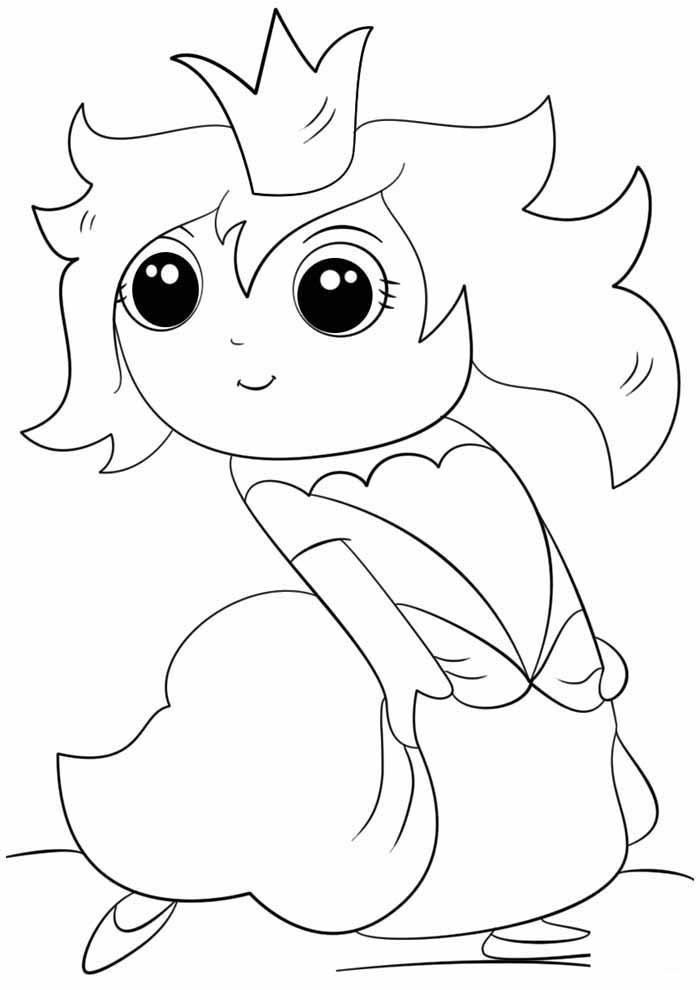 princess coloring page cute