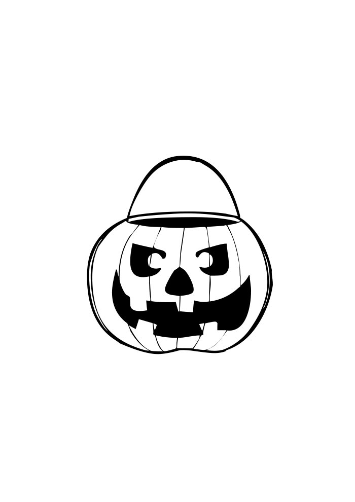 pumpkin coloring page basket