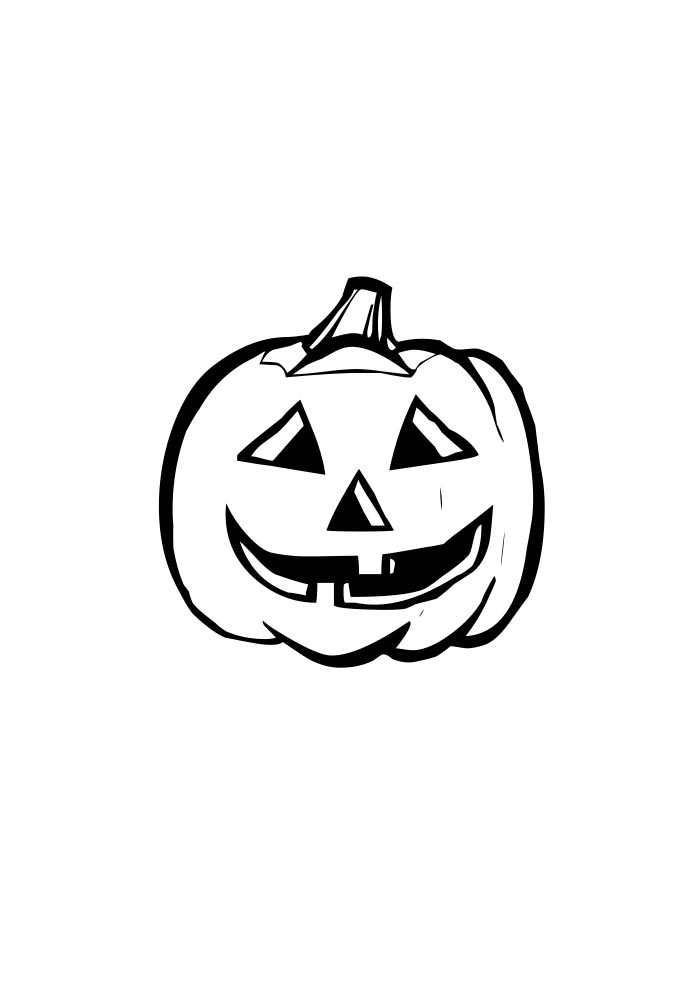 pumpkin coloring page smile