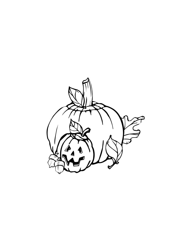 pumpkins coloring page small and big