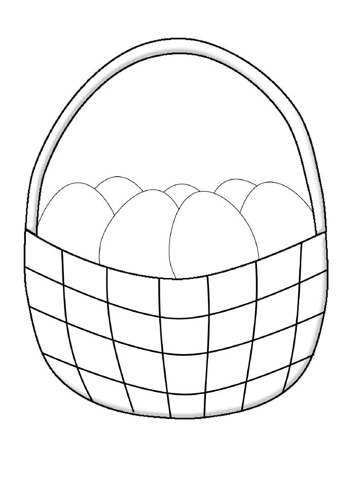 simple easter eggs basket coloring page