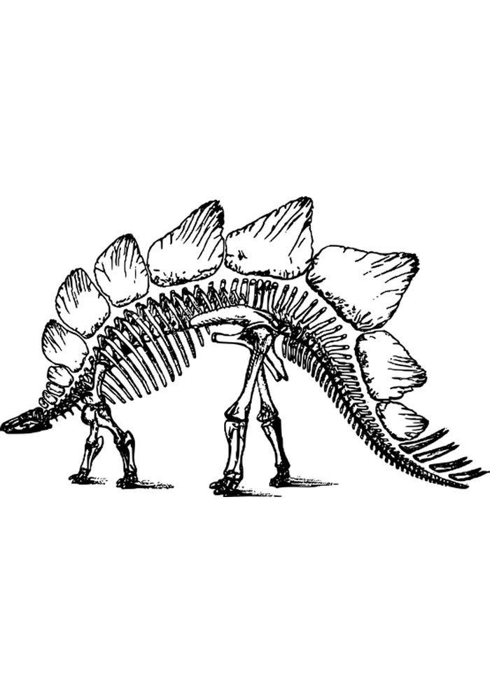 skeleton dino coloring page