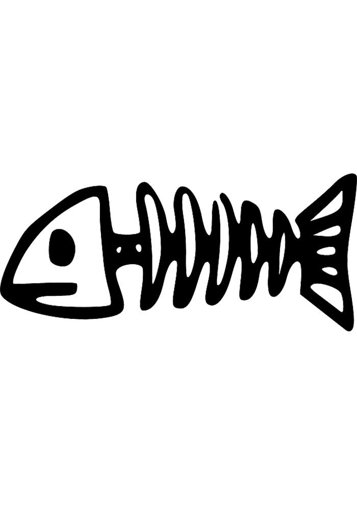 skeleton fish coloring page kids