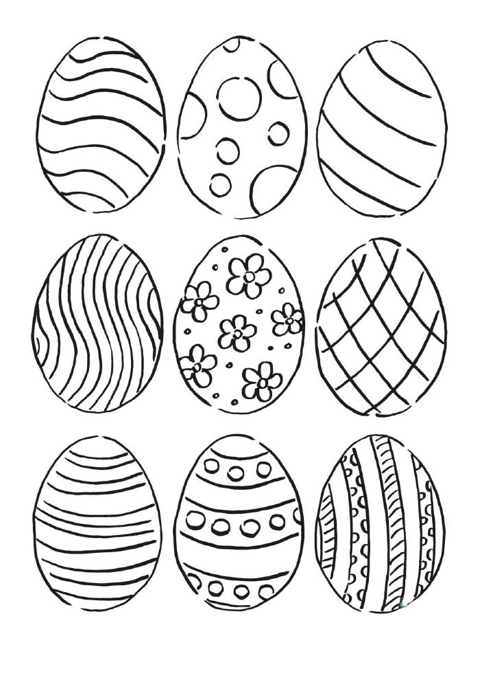 small easter eggs coloring page