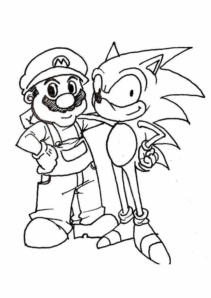 sonic and mario coloring page