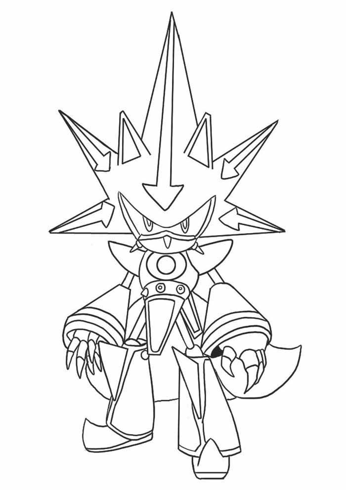 sonic coloring page metal