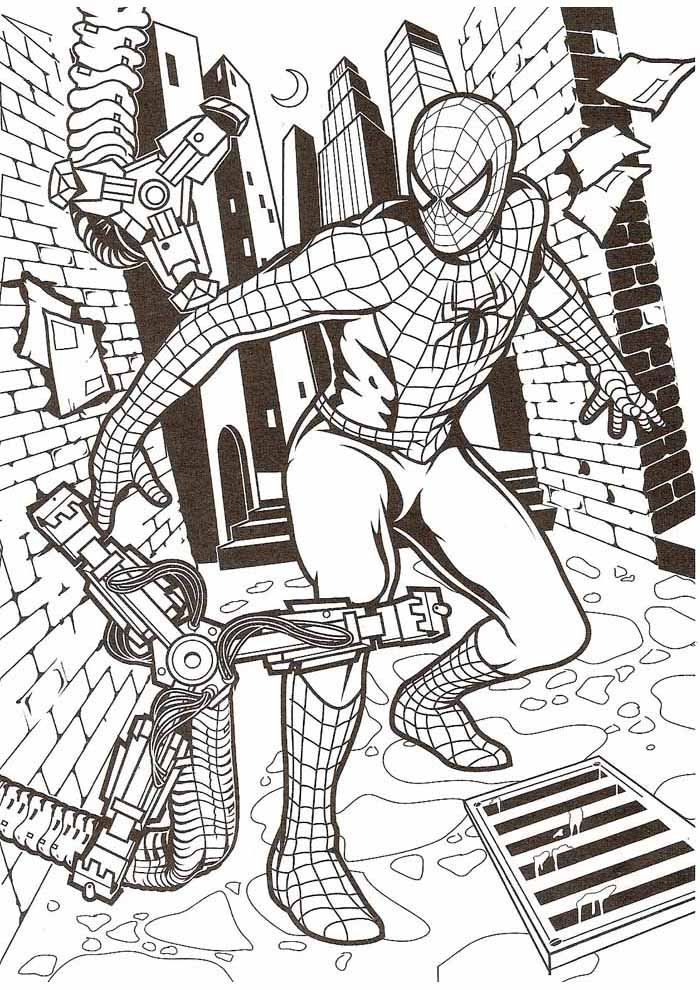 spiderman coloring pages fighting