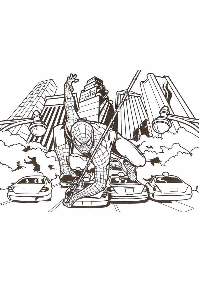 spiderman coloring pages in the city