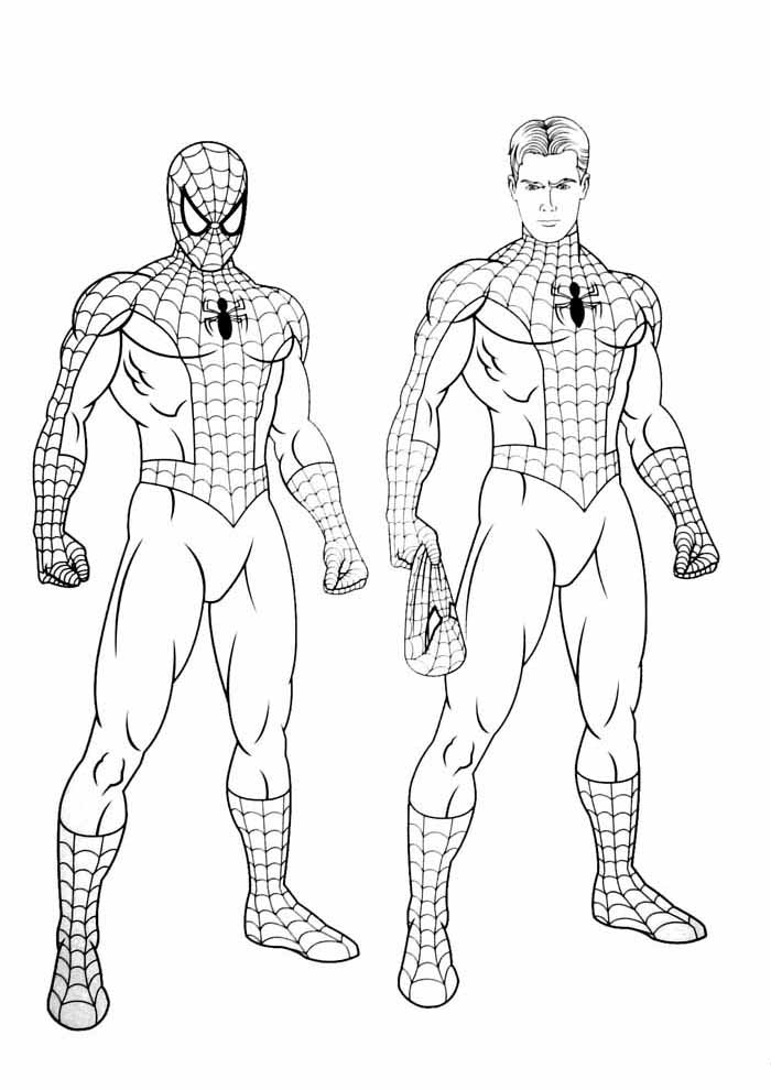 spiderman coloring pages masked and unmasked