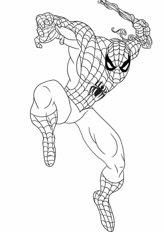spiderman coloring pages preparing to jump