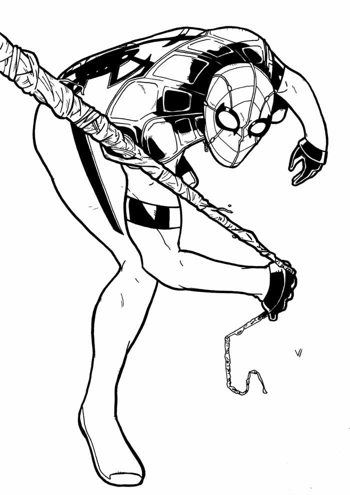 spiderman coloring pages pulling the web