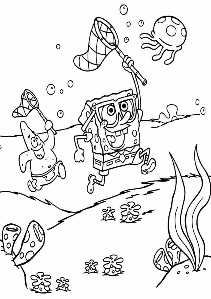 spongebob and patrick hunting jellyfish coloring pages