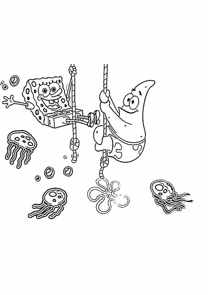spongebob and patrick playing coloring page