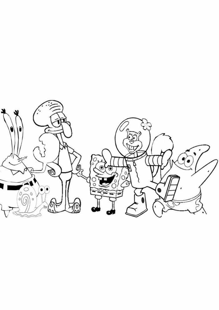spongebob coloring page all characters