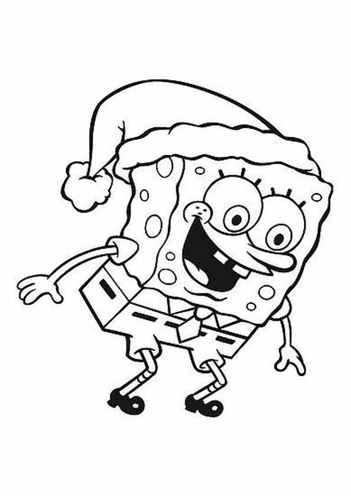 spongebob coloring page christmas hat