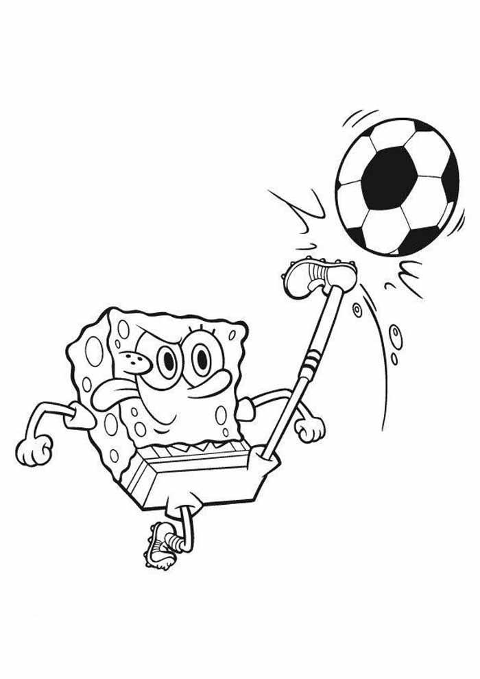 spongebob coloring page playing football