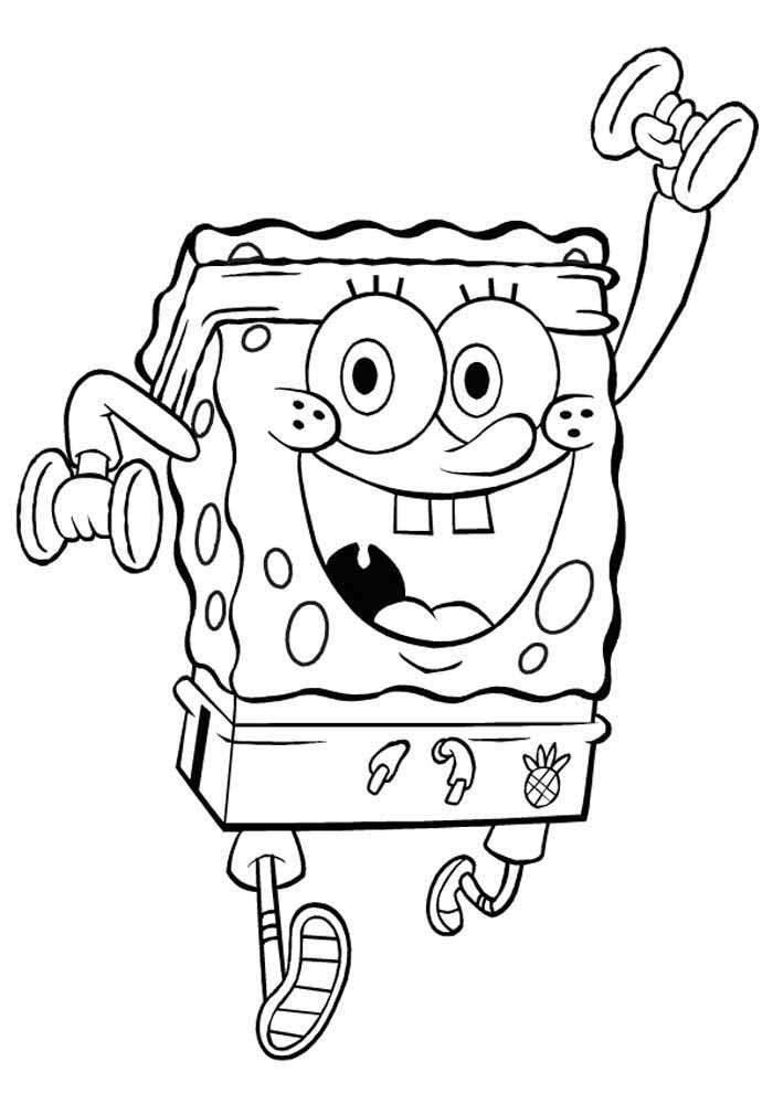 spongebob coloring page working out