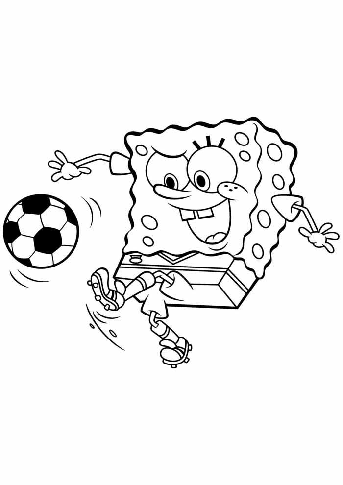 spongebob playing soccer coloring page