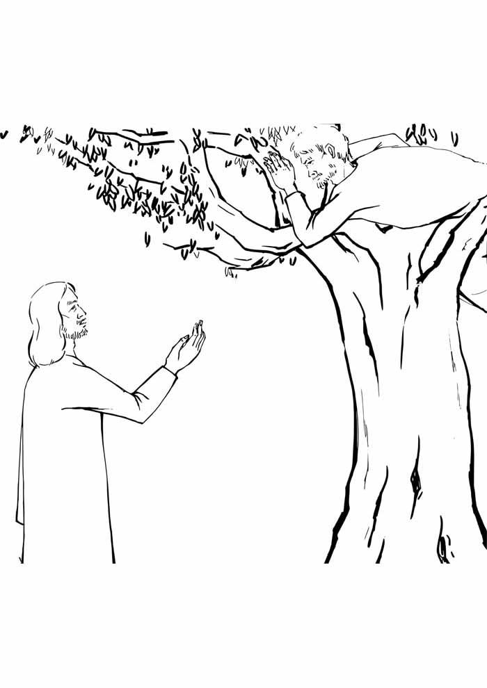 tree coloring page Jesus