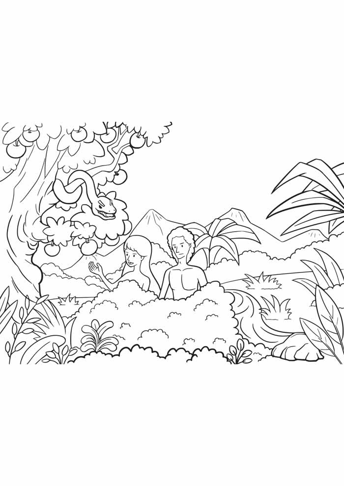 tree coloring page adam and eve