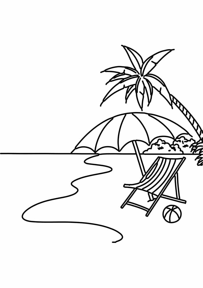 tree coloring page beach