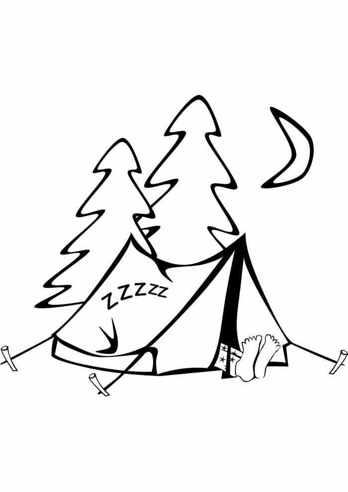 tree coloring page camping
