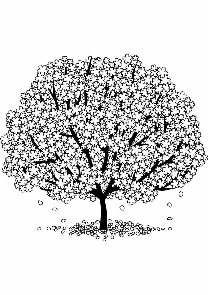 tree coloring page cotton