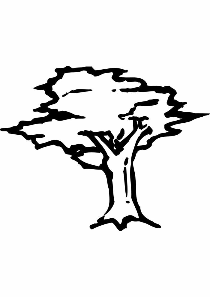 tree coloring page drawing