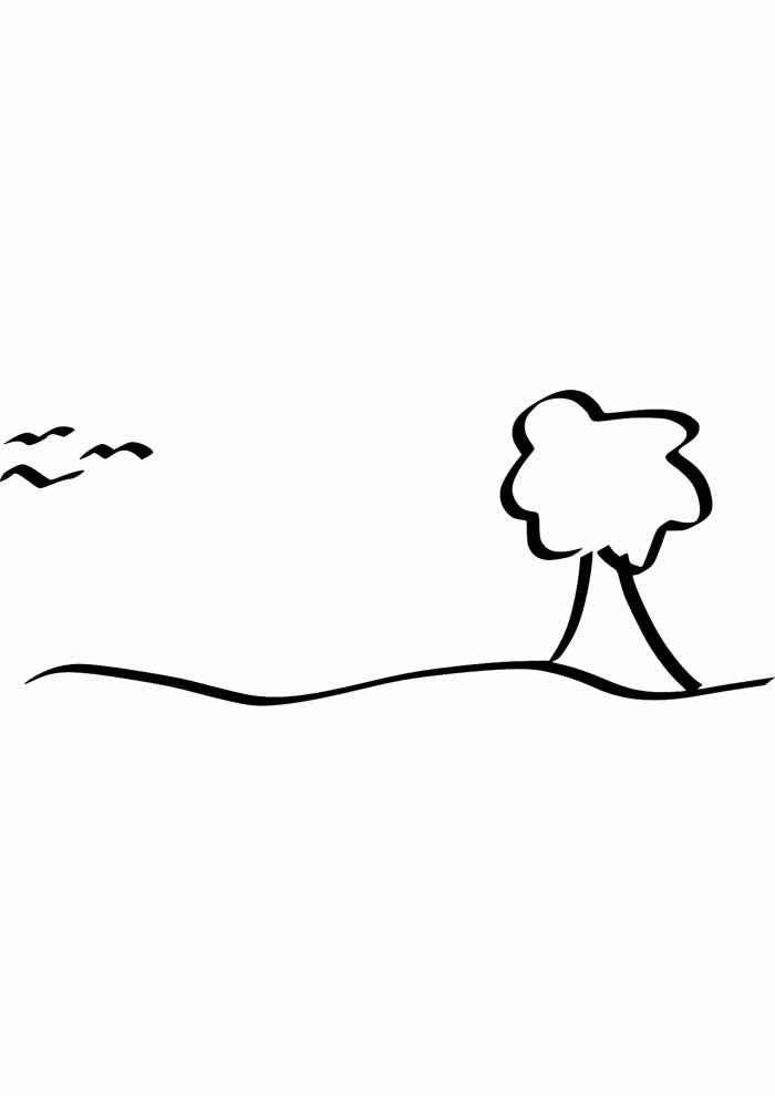 tree coloring page farm
