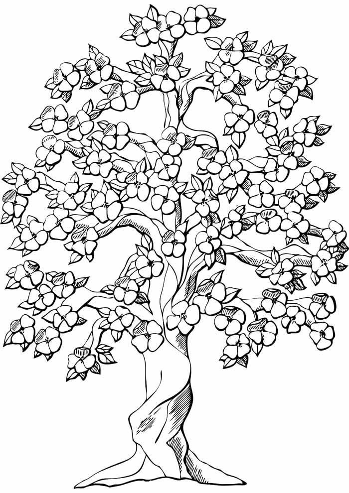 tree coloring page flowers