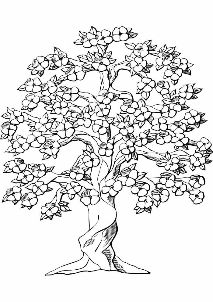 tree coloring page flowery