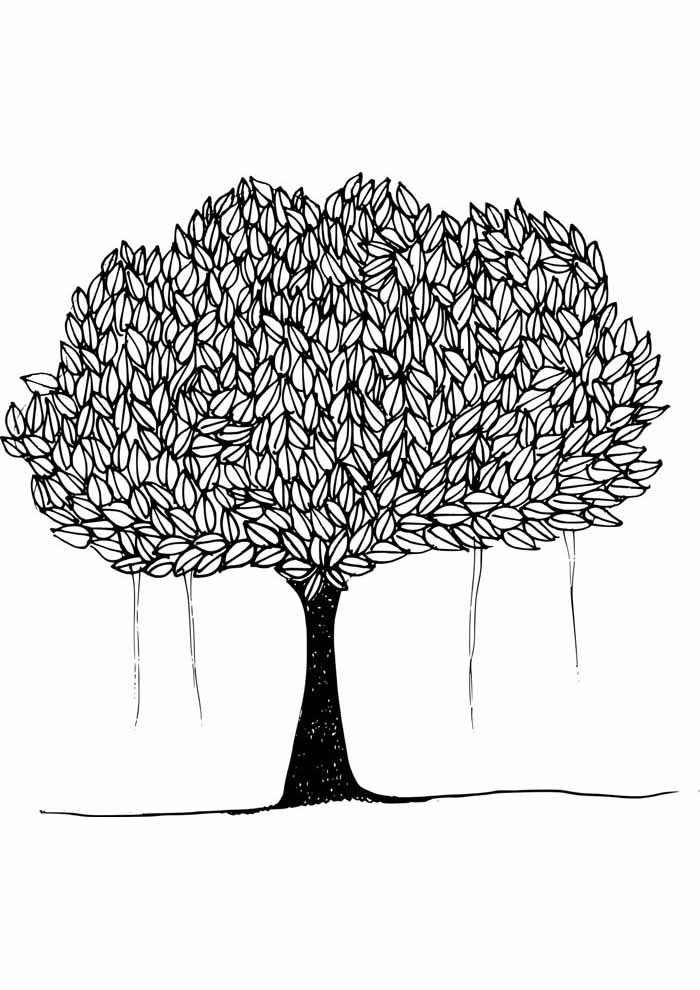 tree coloring page full of leaves