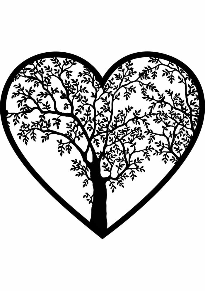 tree coloring page inside heart