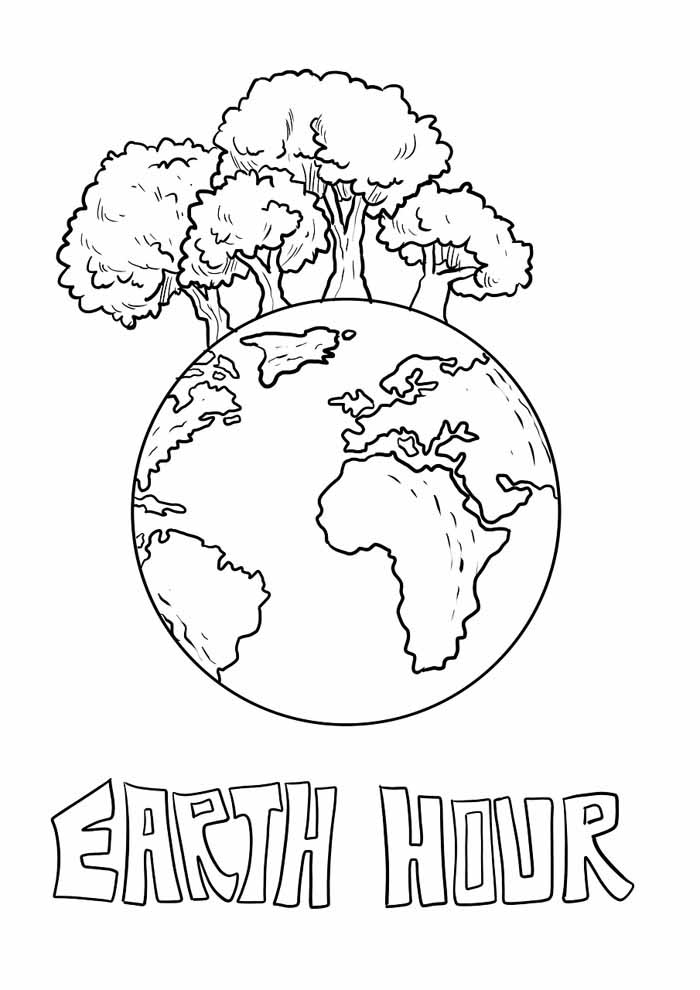 tree coloring page planet earth