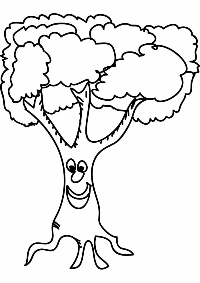 tree coloring page smiling face