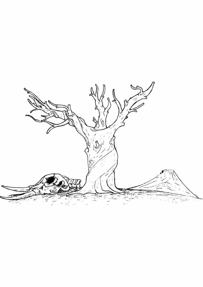 tree coloring page trunk