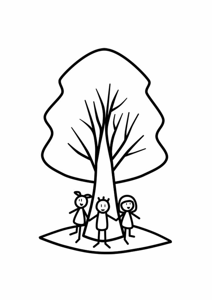 tree coloring page with kids