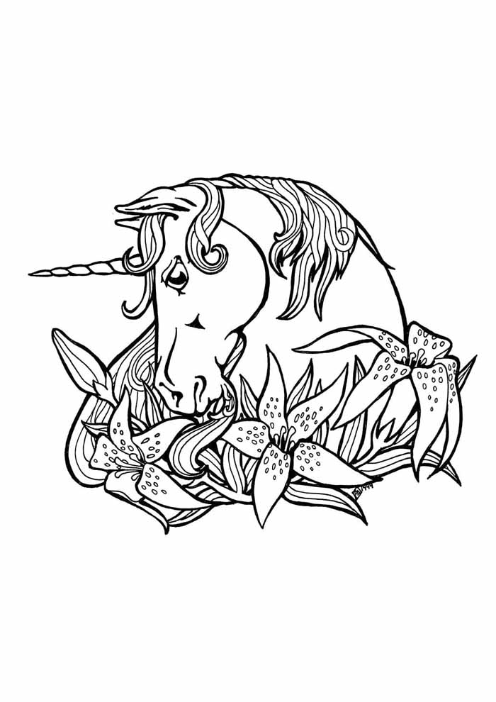 unicorn coloring page 105