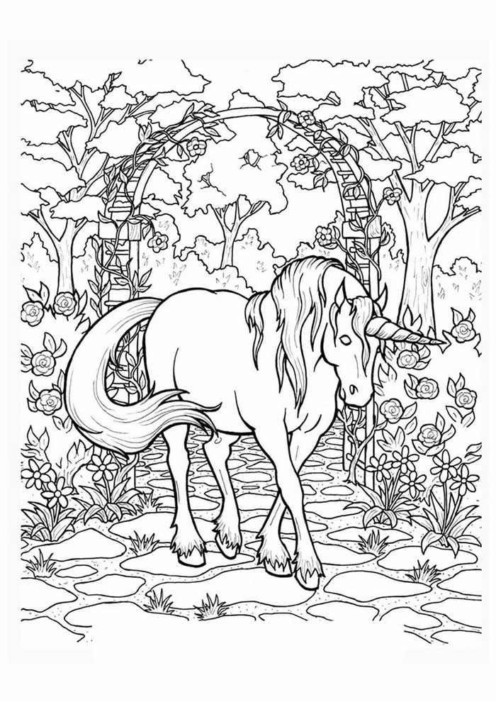 unicorn coloring page 106