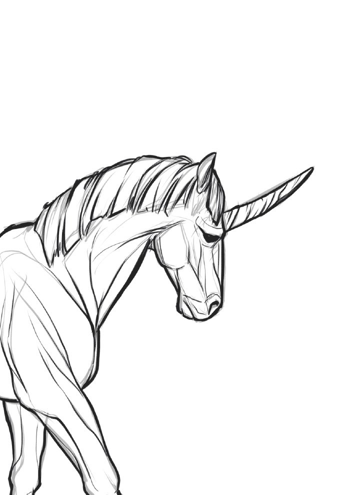 unicorn coloring page body and face