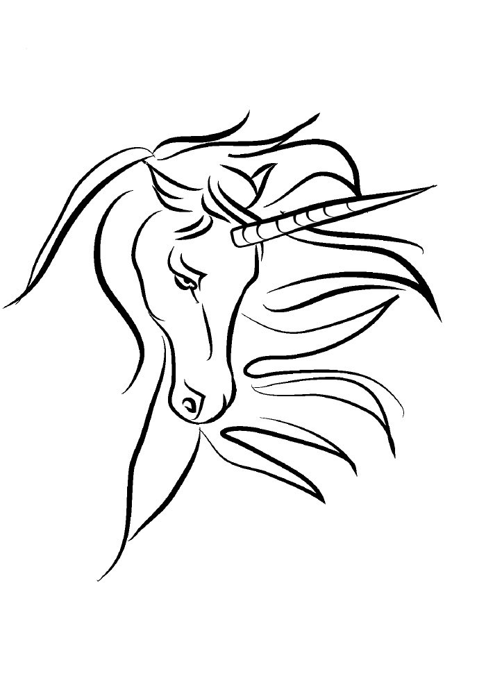 unicorn coloring page face