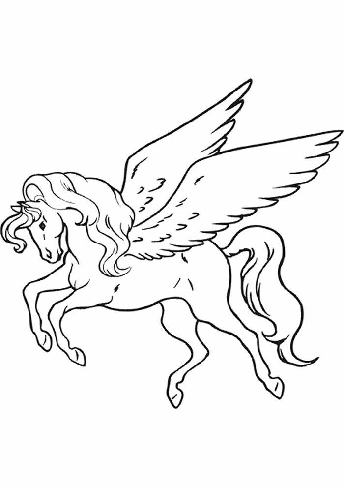 unicorn coloring page flying