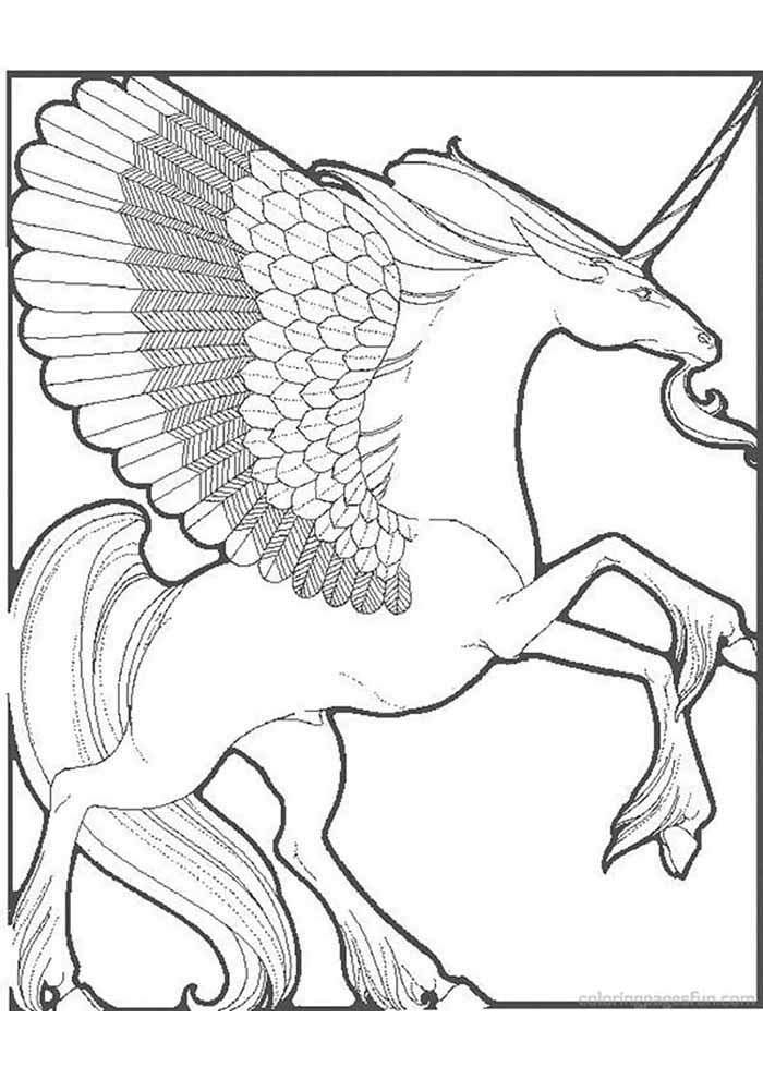 unicorn coloring page for adult