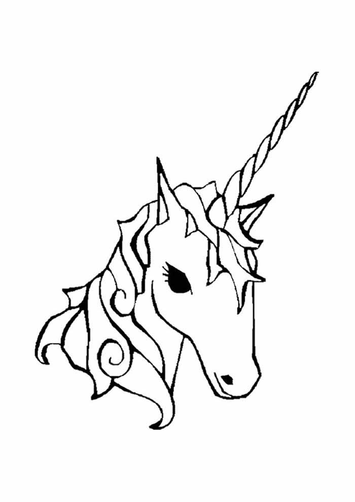 unicorn coloring page head