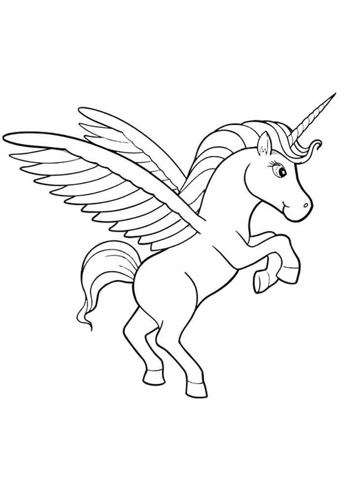unicorn coloring page jumping