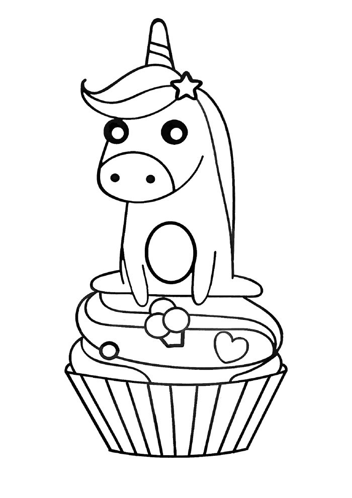 unicorn coloring page on a cupcake