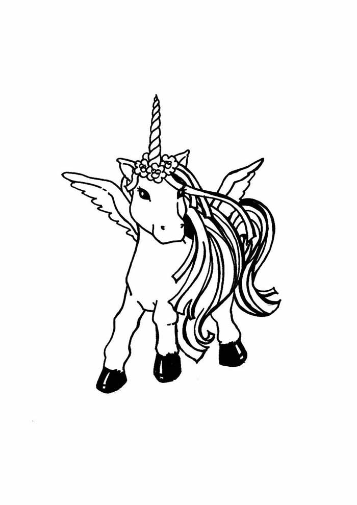 unicorn coloring page party
